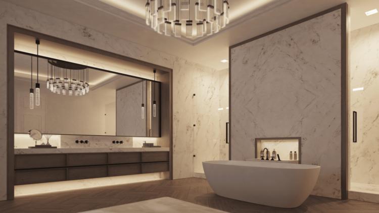 Edles Badezimmer in einer Wohnung der Gründerzeitvilla von Aedes Nobiles in Dahlem mit weißem Marmor an den Wänden und Holzboden.