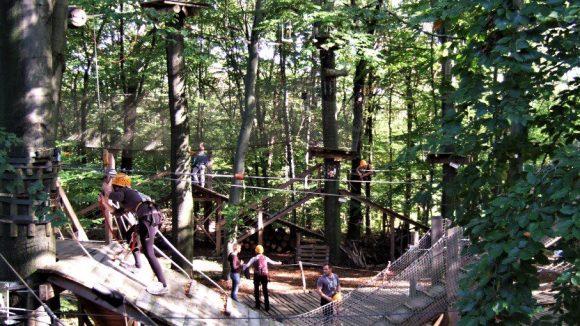 Hindernis aus Holz im Kletterwald und Abenteuerpark Potsdam im Sommer mit vielen Besuchern.