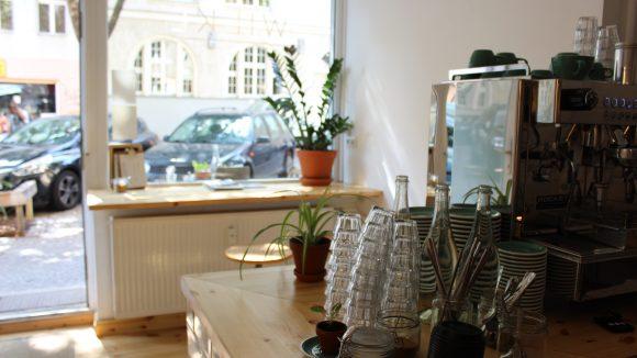 Der Blick von Innen nach Draußen im Café.