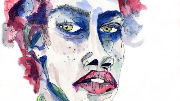 Ein buntes Aquarellbild einer schwarzen Frau.
