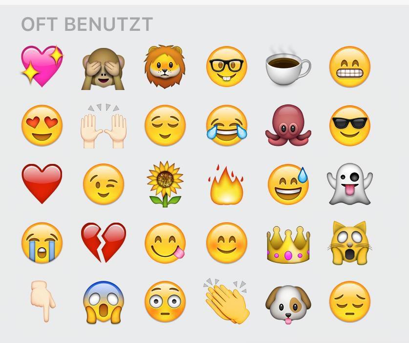 Screenshot von Emojis.Höäufig benutzt: Herz, Affe, der sich die Augen zuhält, Löwe, Smiley mit Brille, Kaffeetasse, grinsender Smiley