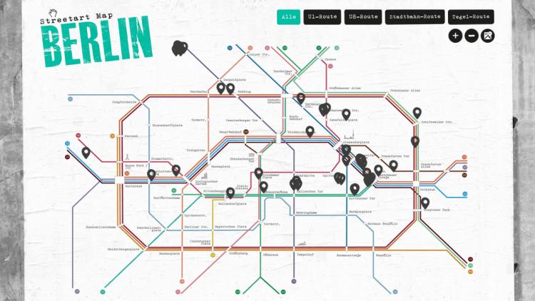 Die Street Art Karte im U-Bahn Format