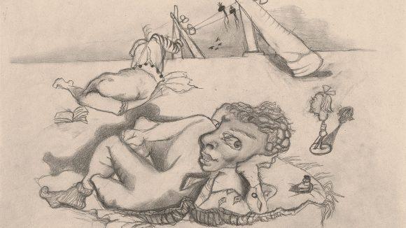 Ein Bleistiftbild von Maria Lassig, mit einem nackten Mann, der liegt.r