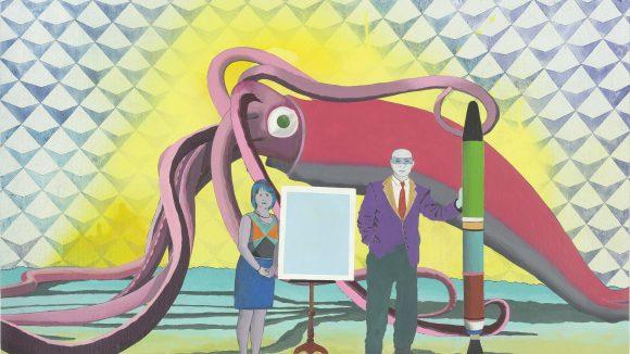 EinGemäde mit riesigem TIntenfisch vor zwei Menschen, die eine Art Präsentation halten mit überdimensional großem Stift.