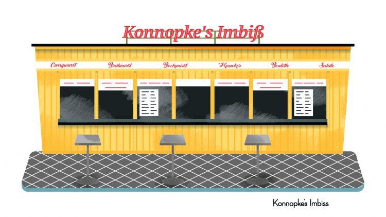 Zeichnung von der gelben Imbissbude Konnopke.