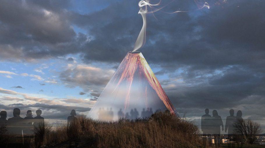 Vulkan Kunstinstallation von Plastique Fantastique in Marzahn