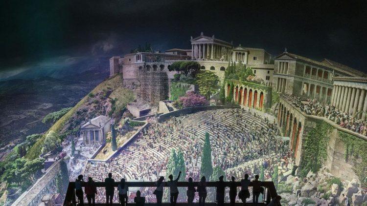 Panorama der antiken Stadt Pergamon im Rundbau des Pergamon-Museums