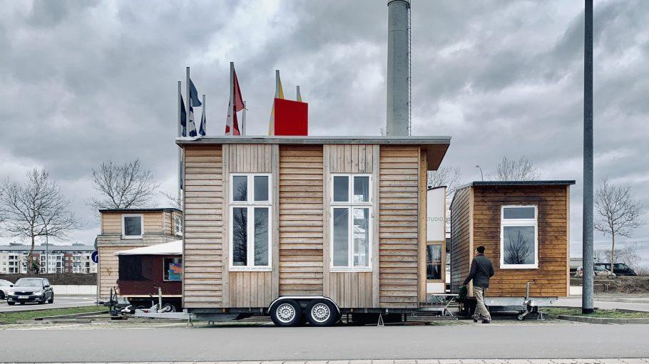 Tiny Houses auf dem Parkplatz von IKEA Lichtenberg