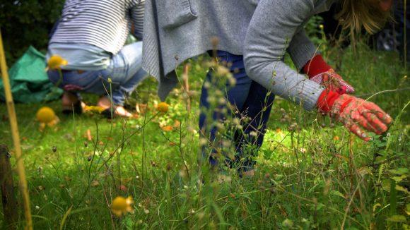 Frau mit Gartenhandschuhen im Grünen
