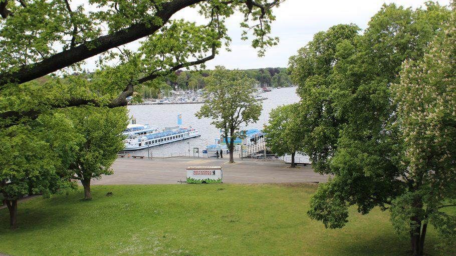 Ausflugsschiffe auf dem Wannsee ankern an Schifssanlegern, im Vordergrund Bäume und grüne Wiesen