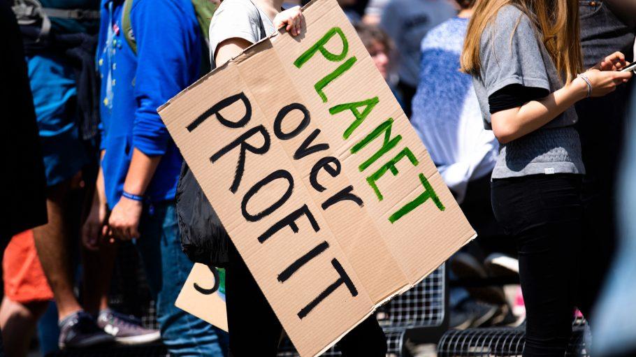 Eine Demonstration, eine Frau trägt ein großes Pappschild mit der Aufschrift: Planet over Profit.