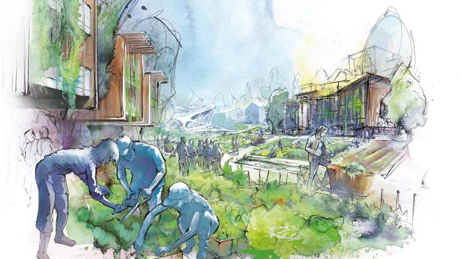 Eine Skizze der Eco City Wünsdorf mit Menschen beim Gärtnern.