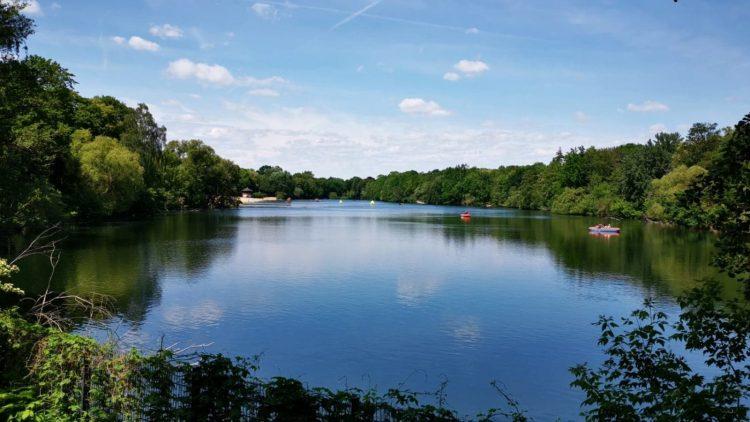 Von Bäumen umstandener See mit zwei Booten, darüber blauer Himmel, im Vordergrund Zaun