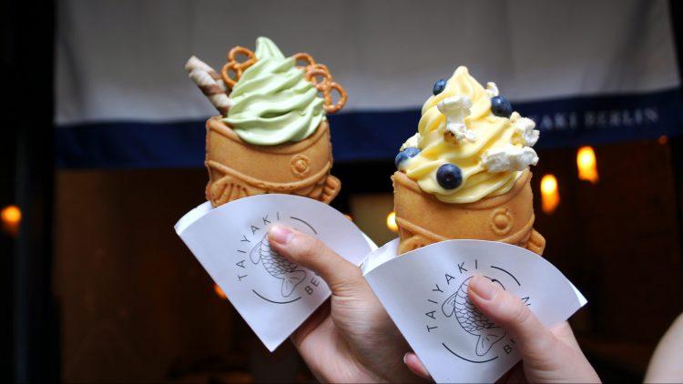 Taiyaki Fisch-Waffel mit Matcha-Eis und Yuzu Eis