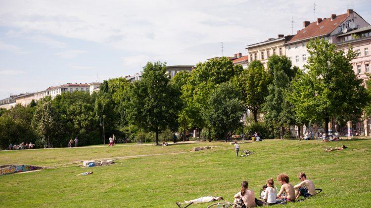Jugendliche auf der Wiese im Görlitzer Park.