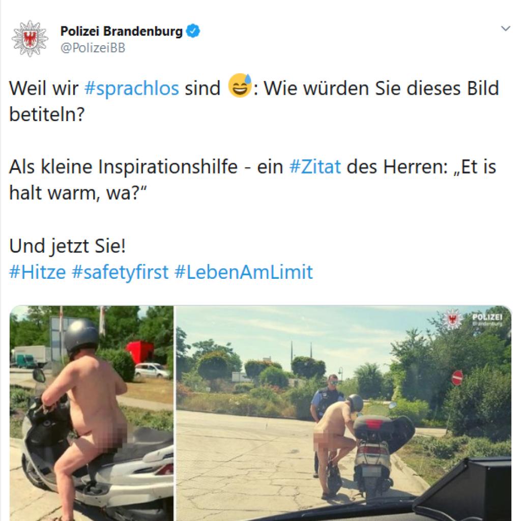 Tweet der polizei Brandenburg mit nacktem Moped-Fahrer