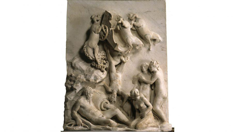 Ein Kunstwerk aus Stein mit Pferden und nackten Menschen.