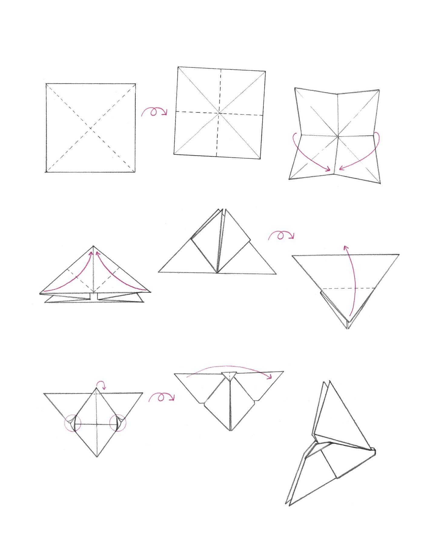 Die Anleitung für das Origami Mobile.
