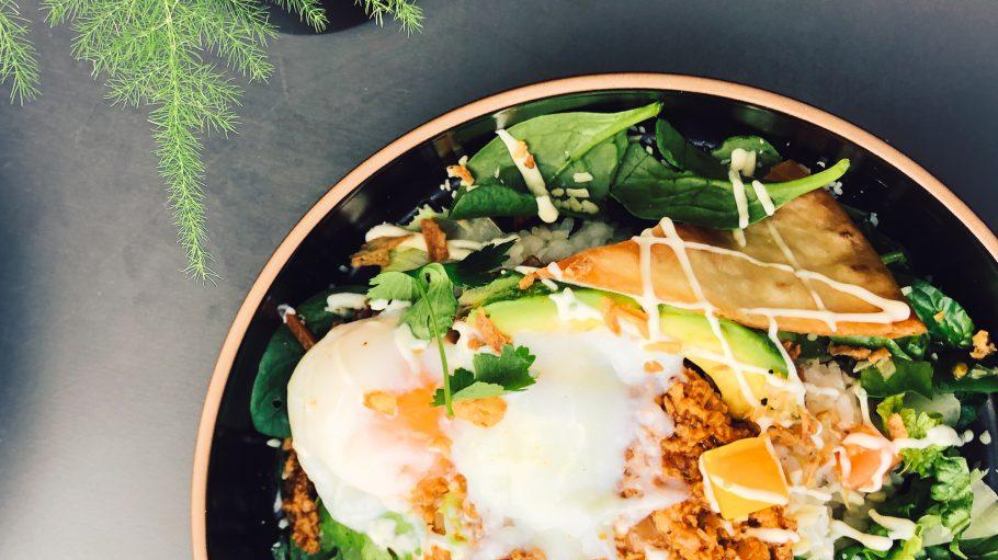 Schüssel mit japanischem Gericht, Spiegelei, Teigtaschen, Kräuter, Salat und mehr, auf einem grauen Tisch