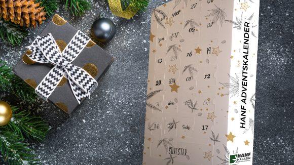 CBD Adventskalender vom Hanf Magazin vor Weihnachtsdeko