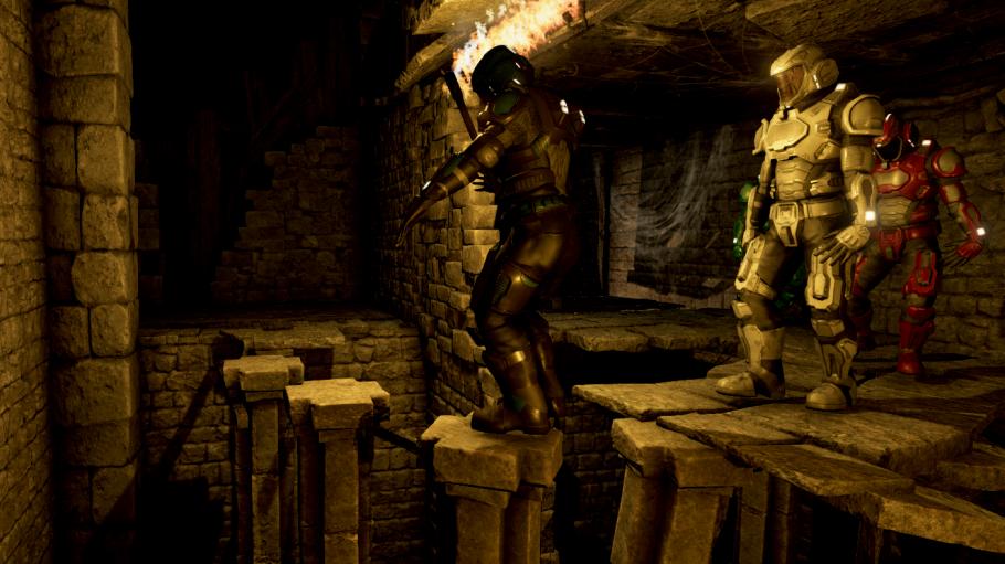 Spielfiguren gehen in 4D in eine Tempelanlage