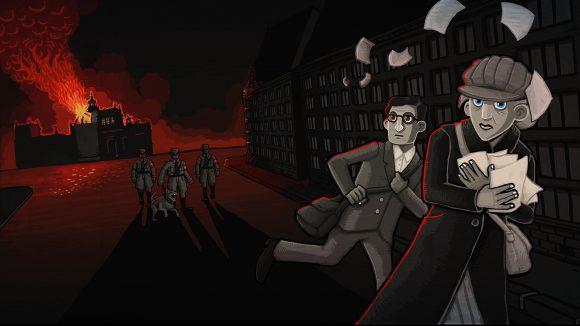 Computerspiel Szene: Brennender Reichstag im Hintergrund, Mann und Frau laufen vor Nazis mit Hund davon