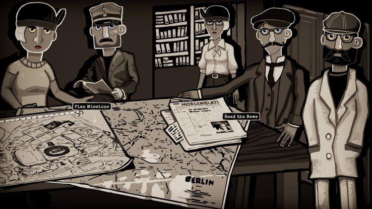 Ein Screenshot aus dem Spiel: Personen stehen um Tisch mit Karte und Unterlagen.