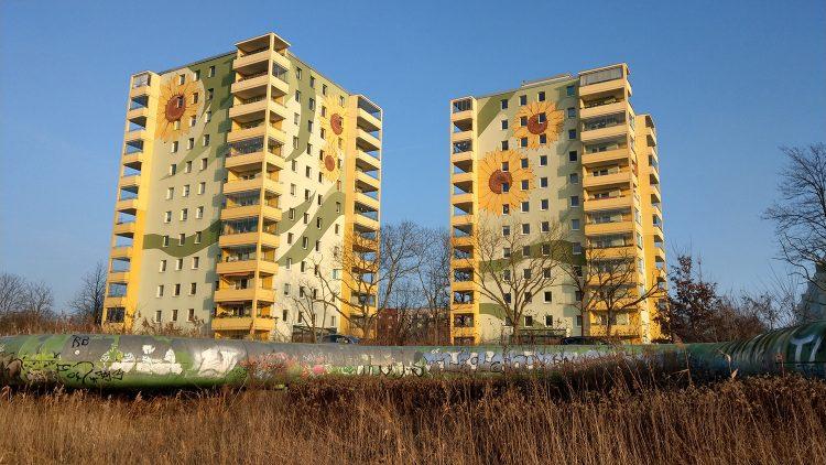 Zwei gelb-grün-weiße Hochhäuser in Hellersdorf mit Sonnenblumen vorne drauf, davor ein großes Heizungsrohr