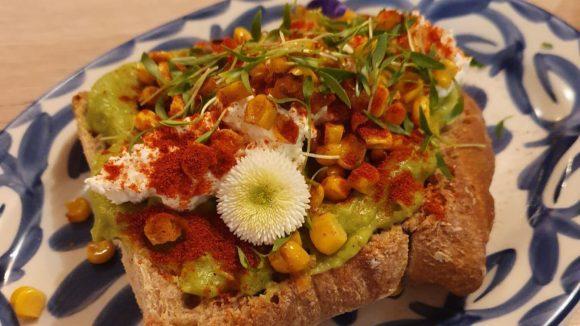 Toast mit Avocado und Blüte auf buntem Teller