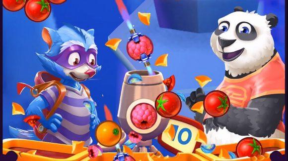 Screenshot von Bubble Island 2 mit Waschbär, Panda und Früchten