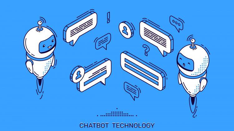 Grafik mit zwei kleinen Robotern und Sprechblasen