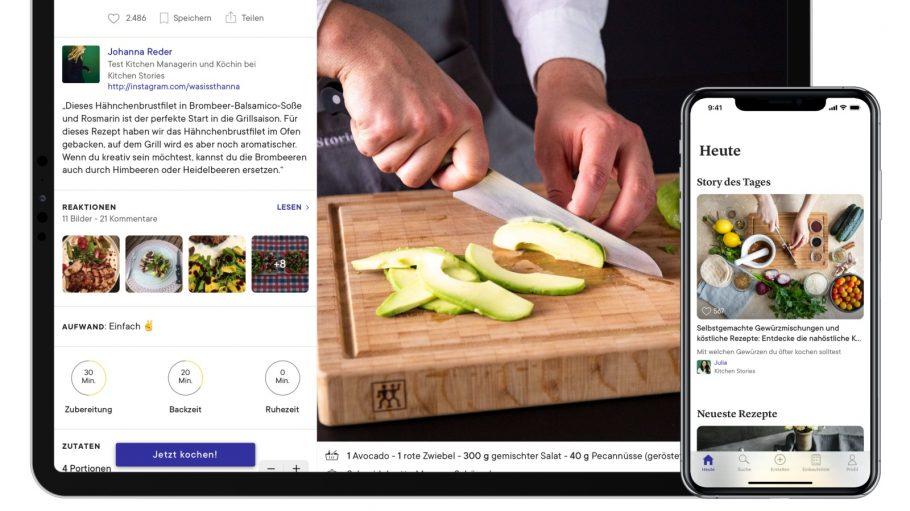 Küchen App mit Bildern von Schneidebrett auf Ipad und Iphone