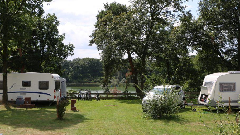Campingplatz mit Wohnmobilen auf grüner Wiese, dahinter Bäume, Zaun und ein See