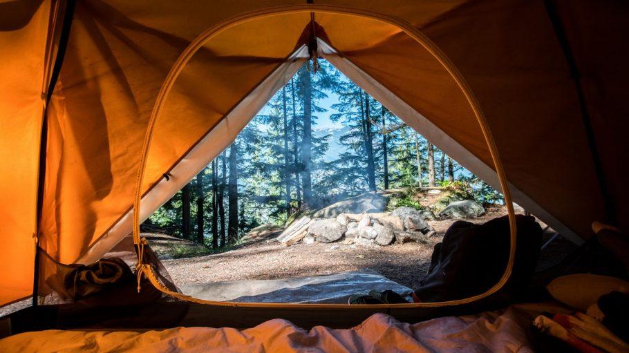 Blick aus Zelt auf Wald und Steine