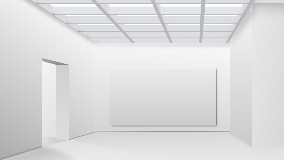 Weißer Ausstellungsraum mit Durchgang und weißem Bild