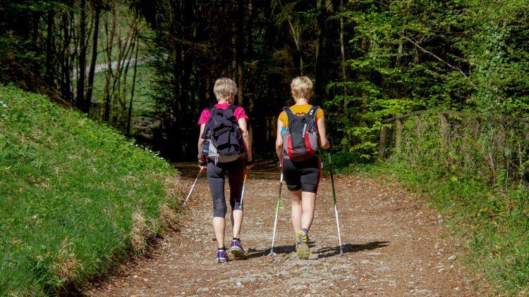 Zwei Menschen von hinten beim Walking