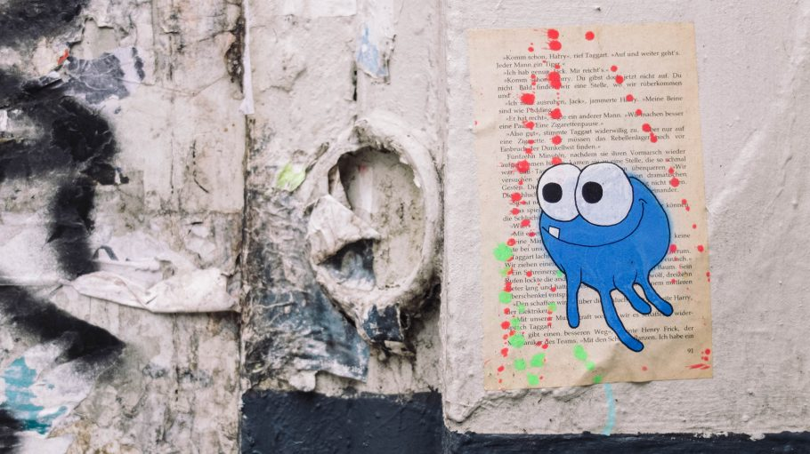 blue monster on bookpage