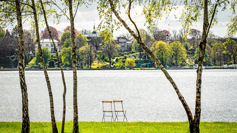 Blick auf das Wannseeufer der Liebermann-Villa am Wannsee, 2021