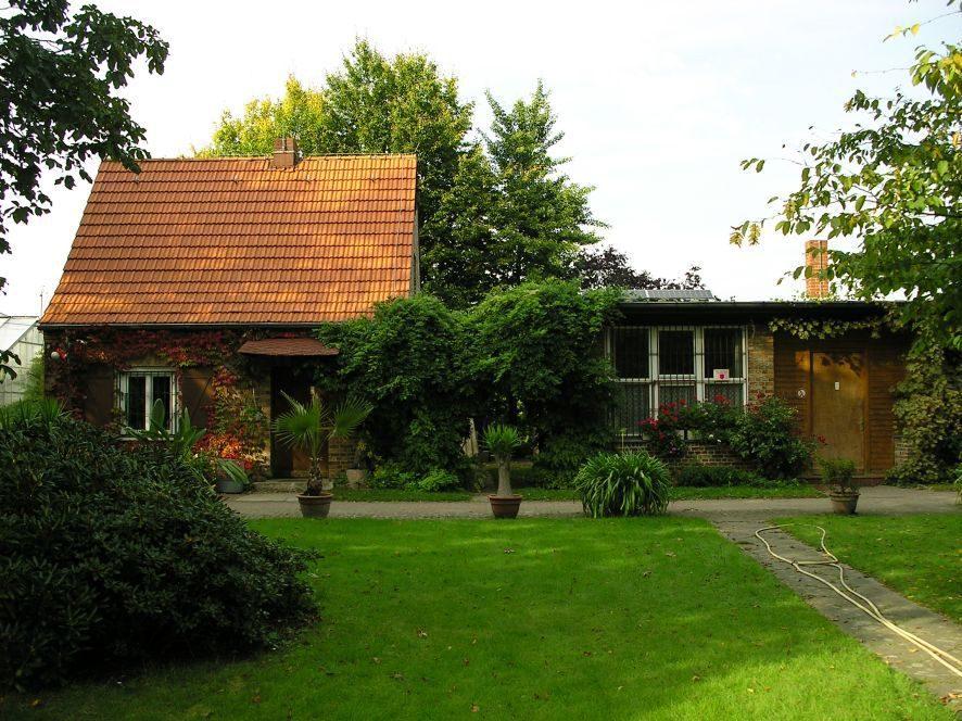 Versteckt zwischen Bäumen steht das Schulhaus der Gartenschule Tempelhof-Schöneberg in der Mitte des Geländes.