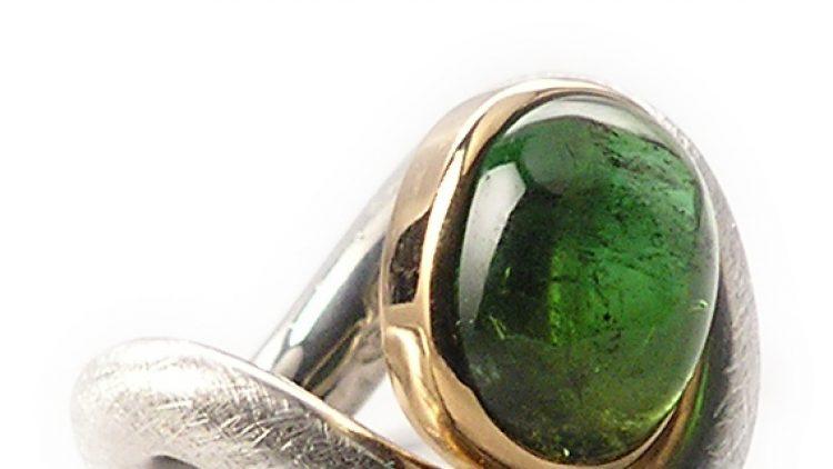 Turmalin, 750/-- Goldfassung, 925/-- Silberring